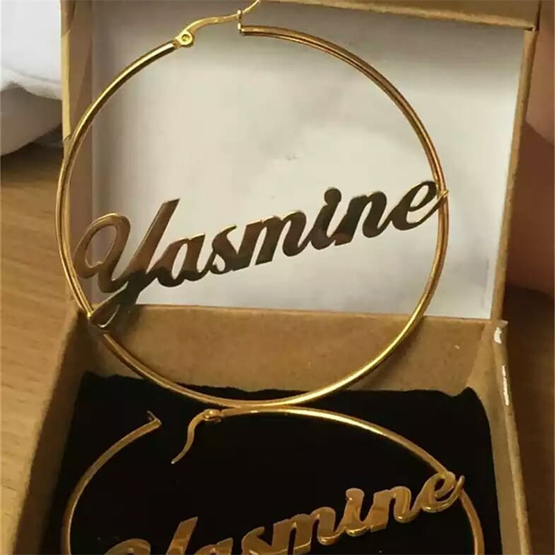 2019 New Fashion Custom Name Dangle Earrings For Women White Gold Big Round Circle Nameplate Earrings For Girls Gift Party