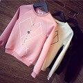 Мода для Печати Пуловер Толстовка Новый 2015 Осень Женщины Повседневная Свободные О-Образным Вырезом Трикотажные Плюс Размер Полный Рукава Женщины Топы FB043