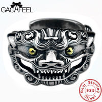 GAGAFEEL 100% Vintage Real 925 Silver Jewelry Ancient Animal Rings for Men High Quality Pure Sterling Silver Punk Man Rings Gift