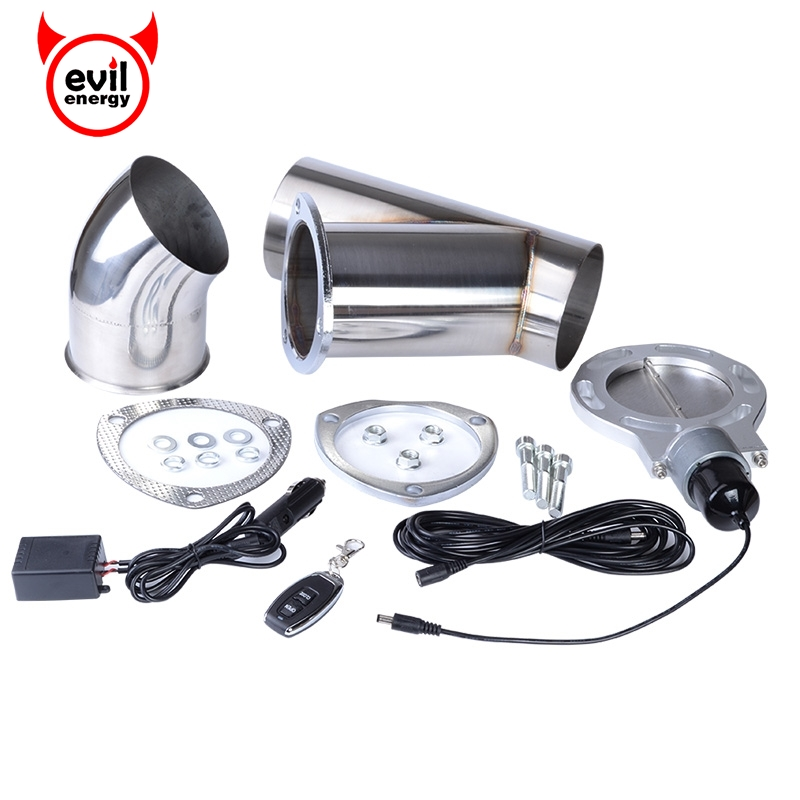 evil energy 4 0 quot Stainless Steel Exhaust Catback Downpipe Exhaust Cut Out Y Pipe Exhaust Cutout Car Muffler With Remote Control in Mufflers from Automobiles amp Motorcycles