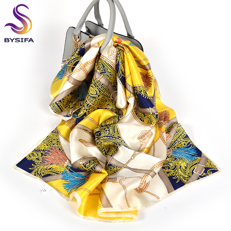 [BYSIFA] Ladies 100% Silk Scarf Shawl Fall Winter Satin Square Scarves Wraps Printed Female Brand Floral Chain Yellow Scarf Cape