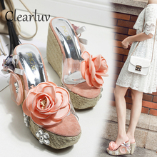 Wedge Slippers Summer Waterproof Table Flowers High Heels Women's Thick-soled Super High-heeled Slippers Transparent Sandals