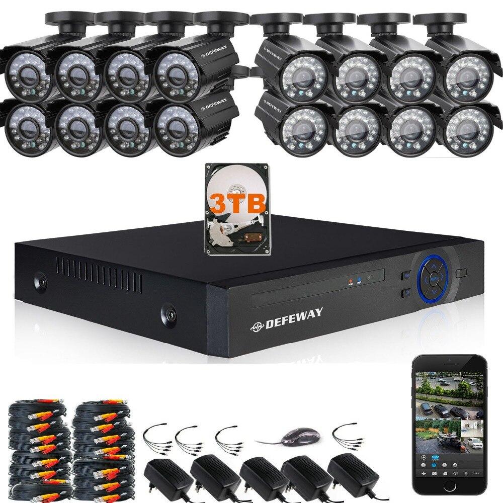 DEFEWAY 1080N 1200TVL 720 P HD CCTV Ao Ar Livre Sistema de Câmera de Segurança DVR Kit de Vigilância De Vídeo Em Casa 3 TB 16 CH 1080 P Saída HDMI
