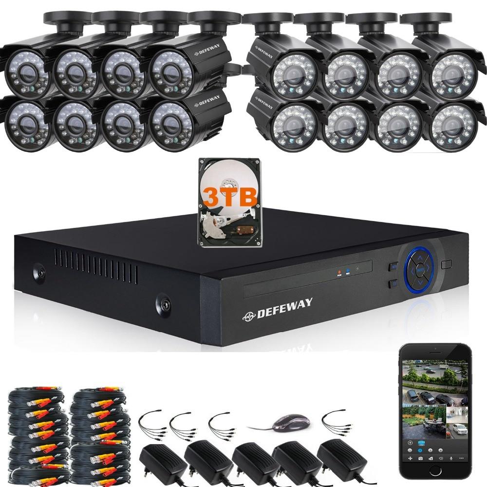 DEFEWAY 1200TVL 720P HD Outdoor CCTV Security Camera System 1080N Home Video Surveillance DVR Kit 3TB 16 CH 1080P HDMI Output