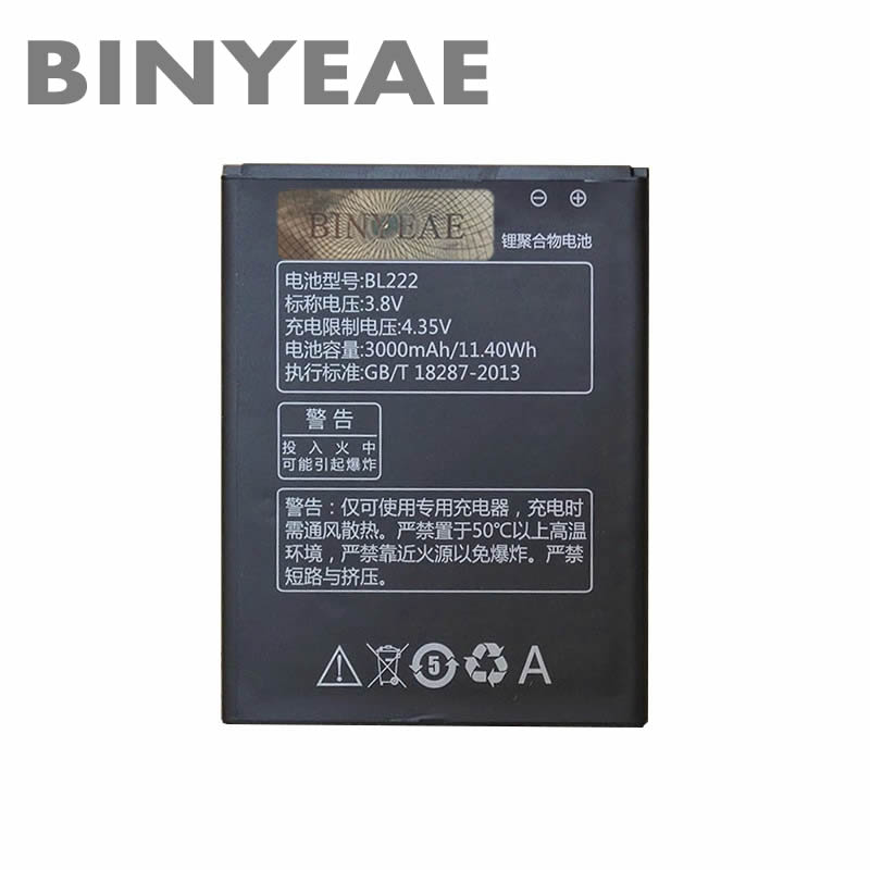 BINYEAE Original Battery BL222 For Lenovo S660 S668T S 660 668T 3000mAh 3.8v High Quality Li-ion Cell Phone Batteries In stock