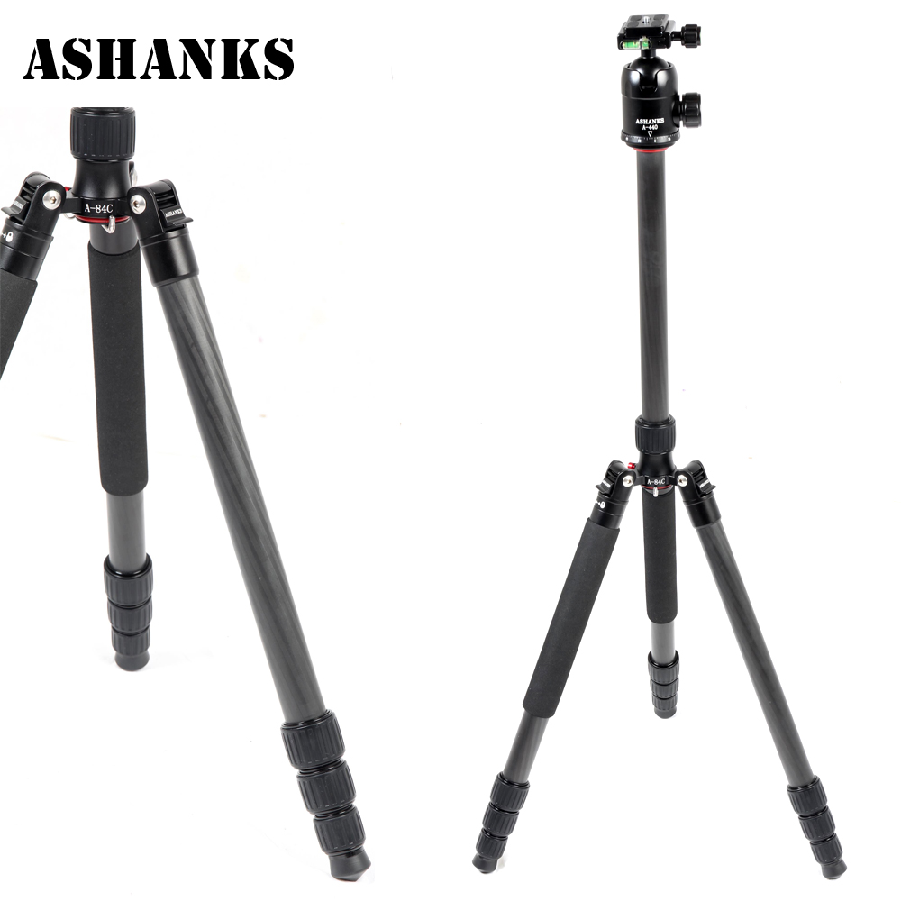 ASHANKS A84C Loading 15KG Portable Carbon Fiber Tripod Pro Monopod+44cm Ball Head and Quick Release Plate for DSLR Camera ashanks mini carbon fiber handheld