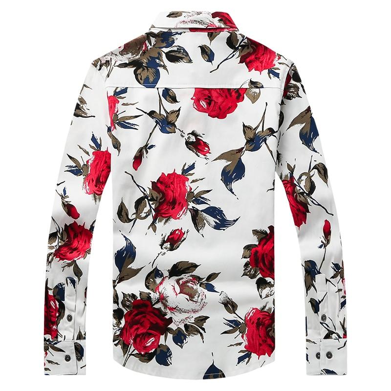 Freizeithemd für Männer Rote Blumenmarke Bedruckte Hemden Modehemd - Herrenbekleidung - Foto 2