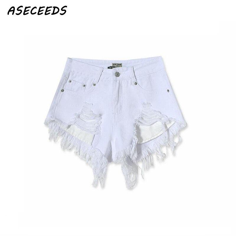 2018 Jeans   shorts   women summer white high waisted   shorts   women beach ripped casual sexy denim   shorts   plus size tear streetwear