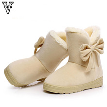 VTOTA Women Snow Boots Winter Warm Ankle Platform Round Toe Womens Shoes Butterfly-knot Flat With Adult Bota Feminina C25