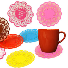 1Pcs Silicone Coaster Nonslip Place Cup Mat pads Tea Cup Holder Cushion Rinks Color Random
