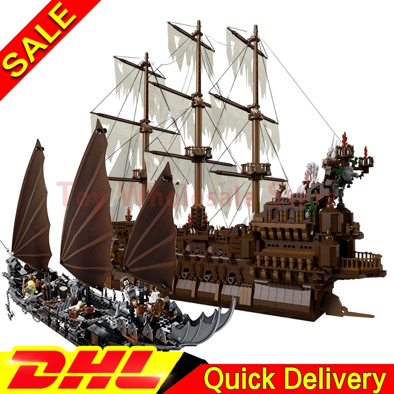 Lepin 16016 The Flying the Netherlands Movies Series + Lepin 16018 Ghost Pirate Ship Building Blocks Bricks Gifts Clone 79008 16018 lepin lord of the rings the ghost pirate ship model building blocks enlighten figure toys for children compatible legoe
