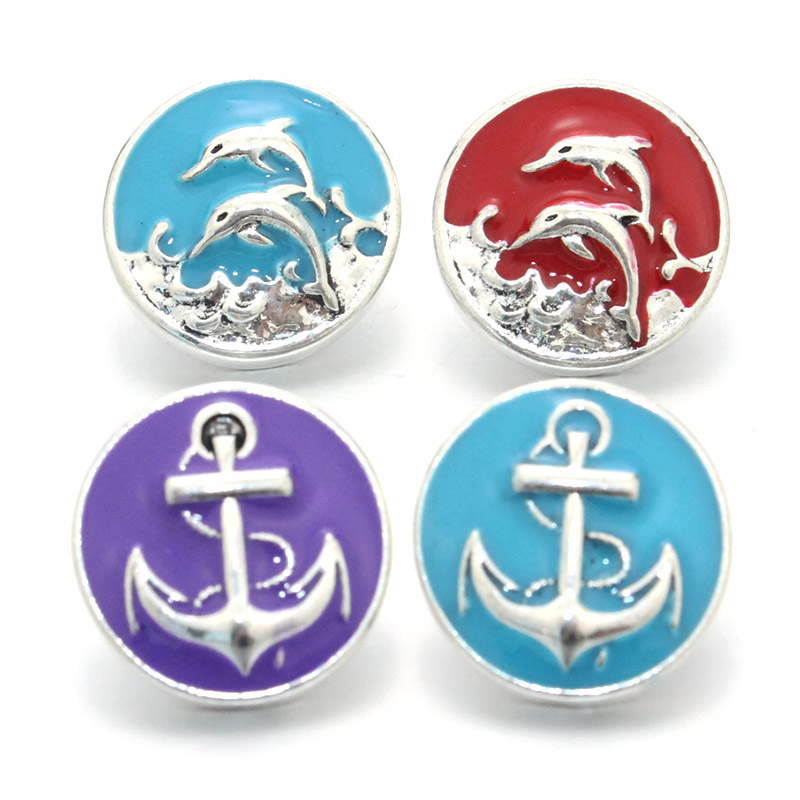 10Pcs/lot metal snap button fit 20mm buttons Anchor Dolphin snap jewelry for snap Bracelet necklace ginger jewelry 011207