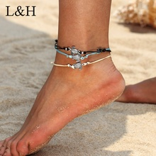 Vintage Wax Rope String Turtle Charm Anklets For Women Bohemian Sandals Foot Leg Bracelet Yoga Beach Jewelry Bijoux summer beach turtle shaped charm rope string anklets for women ankle bracelet woman sandals on the leg chain foot jewelry