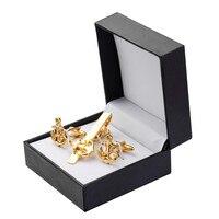 Luxury Men Plating Metal Necktie Tie Bar Clasp Tie Clip with Rhinestone Fashion Simple Gift Cuff Links for Wedding