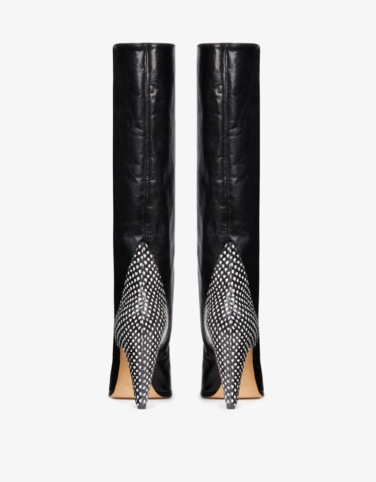 Show Talon Hiver Bottes Et Pointu Fasahion Show Serpent Femmes En As Patchwork Chaussures Chaton Spectacle 2018 Cuir Botas Retour Courtes Glissement as Bout Sur qwgdFZ