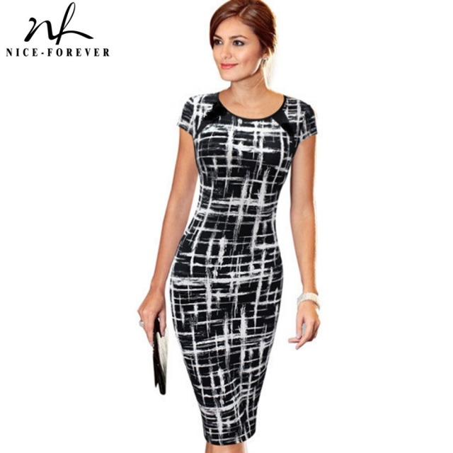 Nice-forever Autumn Casual Slimming Stretchy Vintage dress Polyester Body-con Geometric O Neck Sheath Fitted Pencil Dress b254