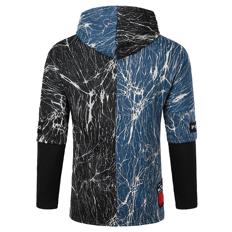 Sweat Fermeture Bleu Fissure Plus Créative Mâle Capuchon 2019 Éclair Manteau Taille Printemps Hommes Capuche La Longues Veste Hoodies À Manches H1Fq8W