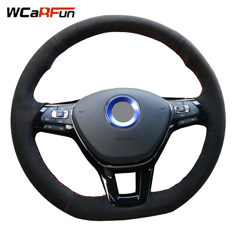 WCaRFun Hand-stitched Black Suede Steering-Wheel Cover for steering wheel for Volkswagen VW Golf 7 Passat B8 Mk7 New Polo Jetta