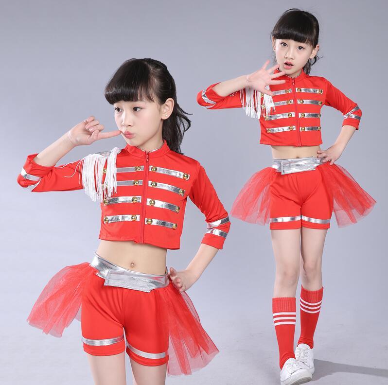 1bb8c92ab0cd4 New Girls Sexy Modern Dance Cheerleading Dance Costumes Kids Group Dance Red  Jazz Ballroom Tango Dress Children Dance Clothes