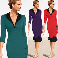 2017 Moda V Profundo Collar Hit Cor Mosaico Temperamento Fino cauda Vestido Justo Mulheres Trabalho Desgaste Roupas Vermelho Roxo Preto vestidos