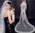 Hot 3 M Borda Do Laço Catedral Comprimento Véus De Noiva Branco Marfim Longo Véus de Noiva Acessórios Do Casamento Véu De Noiva Em estoque