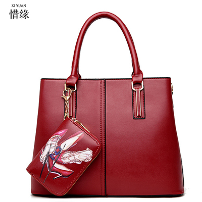 High Quality Brand Women's Hobos-Shaped Handbag Leather Tote Bags For Ladies Large Capacity Shoulder Bag 2bags/set blue/black high quality authentic famous polo golf double clothing bag men travel golf shoes bag custom handbag large capacity45 26 34 cm