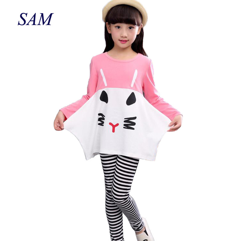 2019 New Cotton Children Clothing 3 4 5 6 7 8 9 10 Year Girls Clothes Long Sleeve Shirts Striped Leggings Kids Suits for Girls