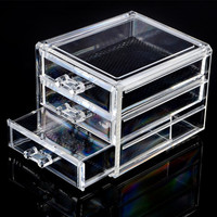 Acrylic Three Layer Makeup Cosmetic Jewellery Organiser Drawer Display Stand Rack With 3 Drawers Valentine S