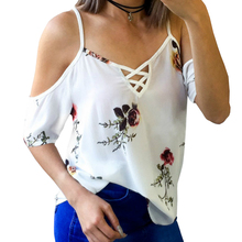 hot deal buy summer women blouses shirts floral printed blusas spaghetti strap sexy shirts plus size off shoulder top chiffon shirts gv433