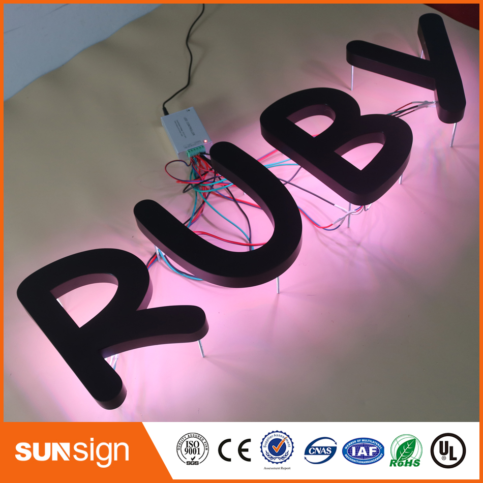 Black Painted Metal RGB Led Backlit Letter Signage