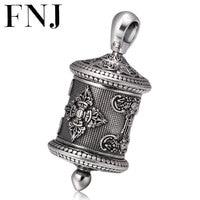FNJ 925 Silver Gawu Box Pendant Buddha Lotus Hang 100% Original Pure S925 Thai Silver Men Pendants for Women Jewelry Making