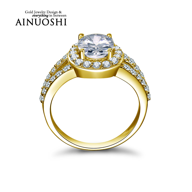 AINUOSHI 10k Solid Yellow Gold Wedding Ring Proposal Anillos Mujer 2ct Oval Cut Halo Simualted Diamond Jewelry Engagement Ring