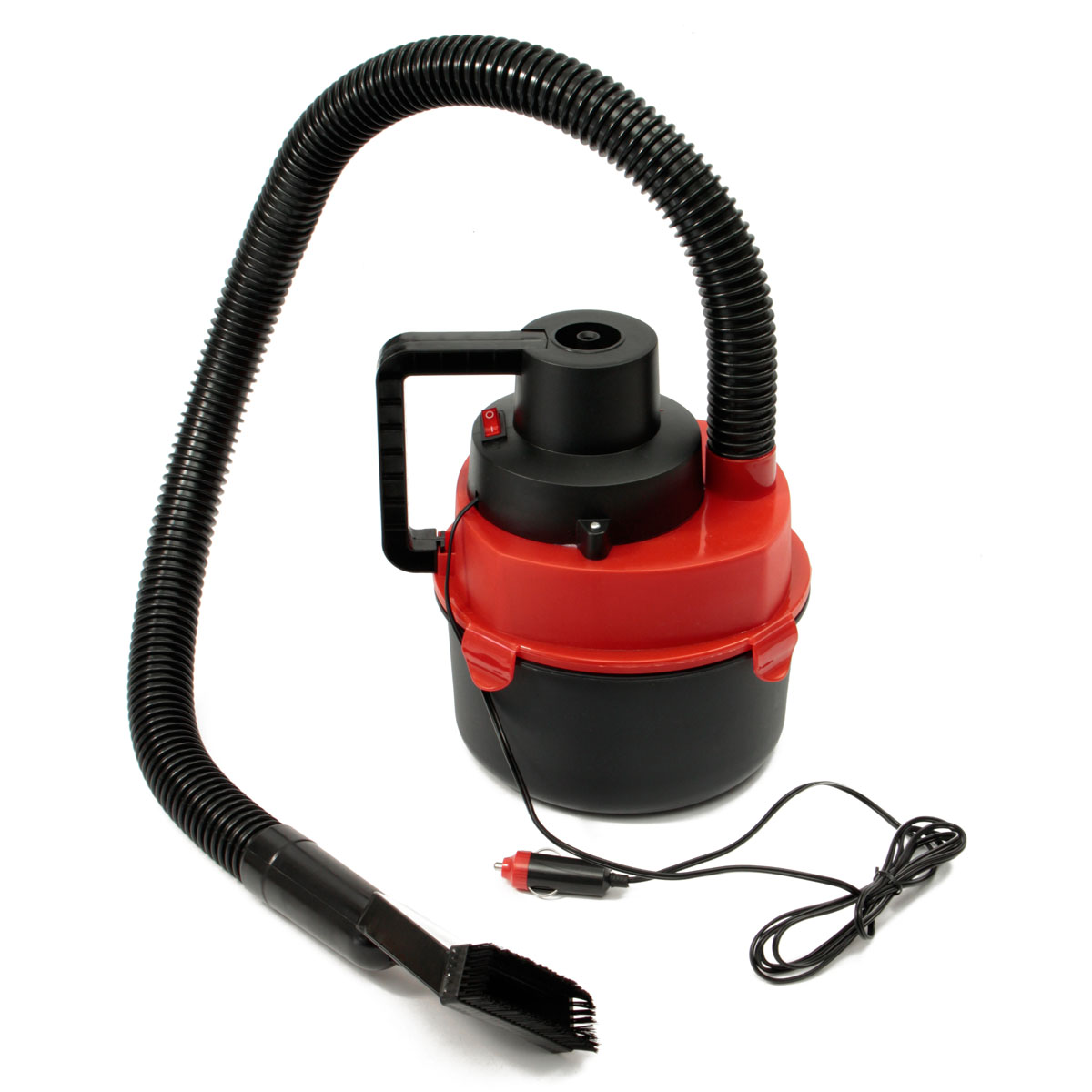 imágenes para A Estrenar 12 V Wet Dry Portable Mini Aspirador de Alfombras Coche Barco Bomba de Inflado de Aire Rojo