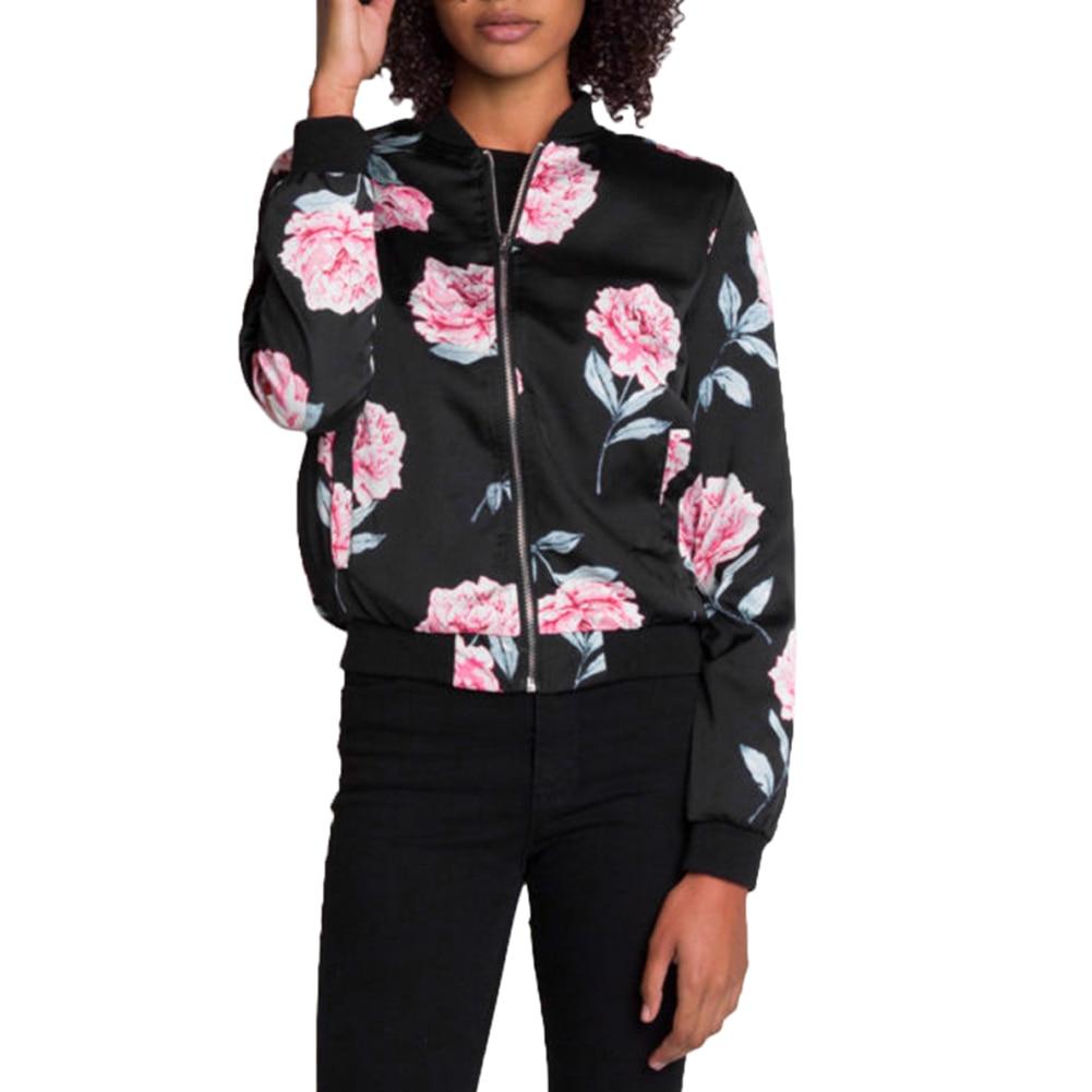 2018 Occidental Style Women's Bomber   Jackets     Basic   Coats Spring Autumn 5 Size Long Sleeves Stand Collar Baseball   Jacket