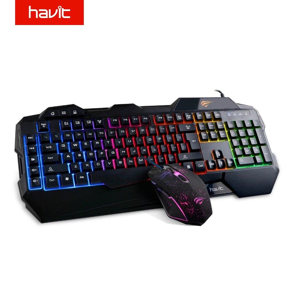 bilder für HAVIT HV-KB558CM USB Verdrahtete LED 2 Regenbogen RGB Hintergrundbeleuchtung Modus Gaming Tastatur Maus Combo für Computer Laptop Tablet PC Gamer