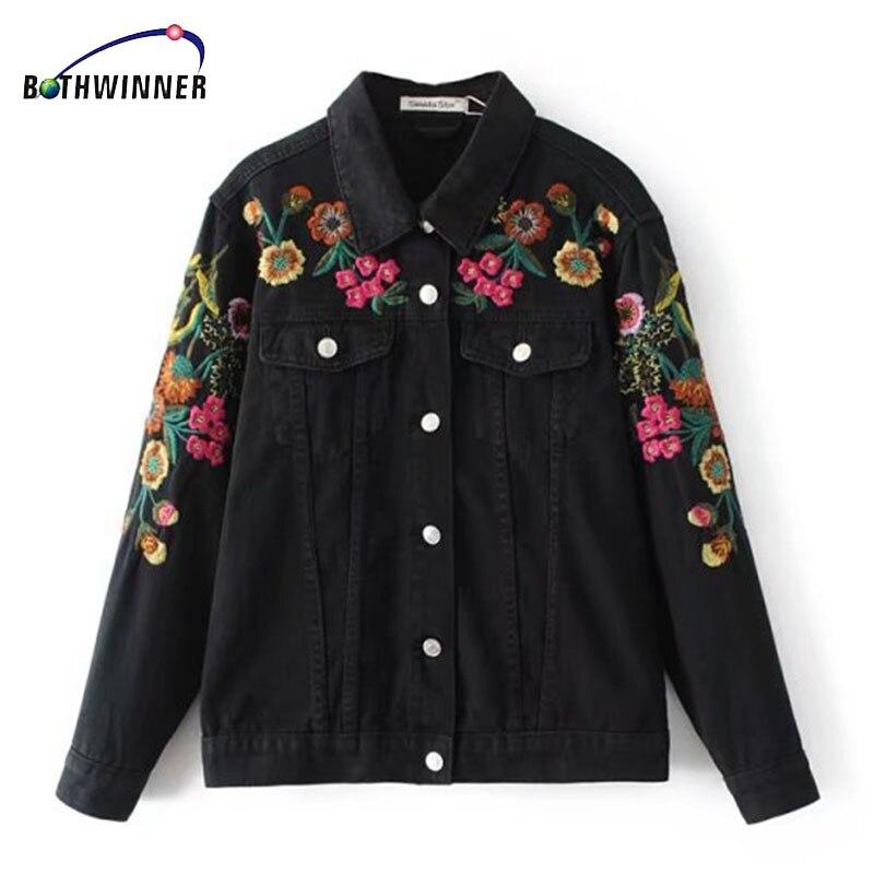 195428164 Bothwinner Bordado Preto Washed Denim Jacket Manga Comprida Lapela Mulheres  Casacos Básicos Plus Size Veste En Jean