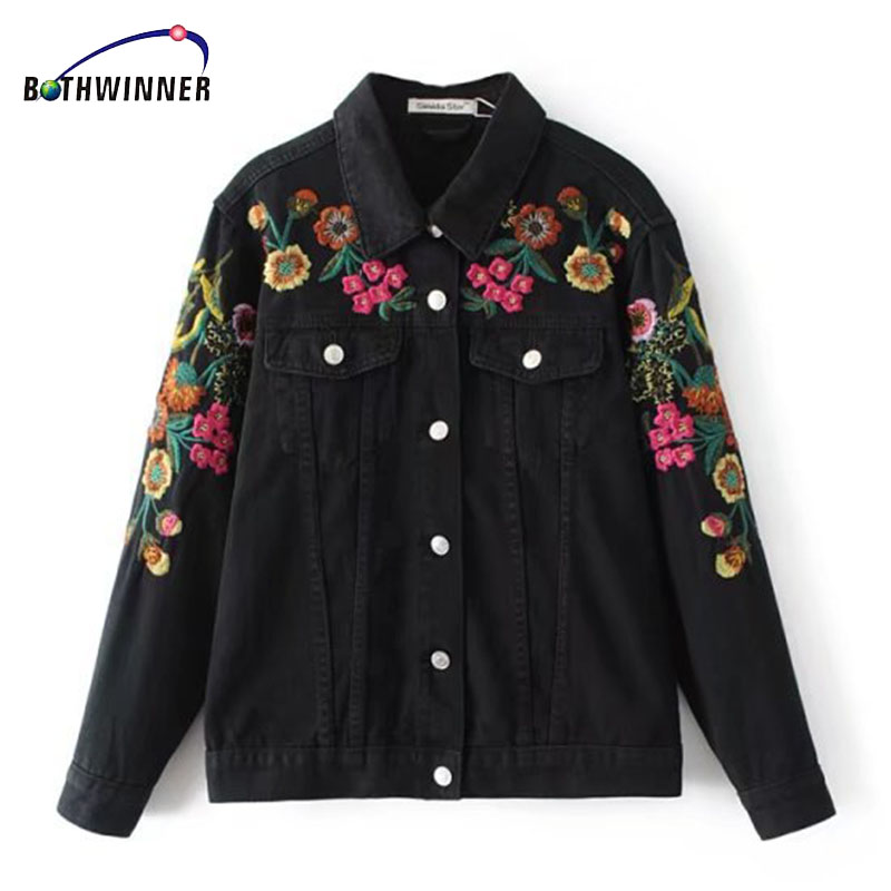 Bothwinner Embroidery Black Denim Jacket Long Sleeve Lapel Washed Women Basic Coats Plus Size Veste En Jean