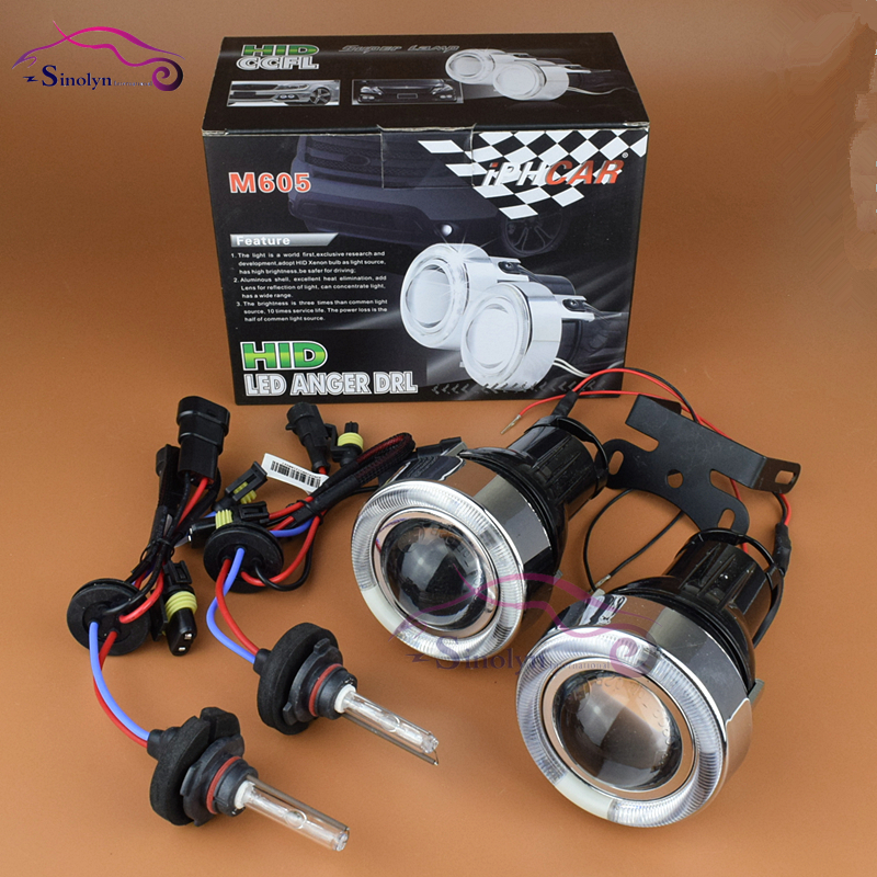 Universal HID Xenon Fog Light Lens Projector With LED Angel Eyes Halo Front Driving Fog Lamps Lenses Retrofit Kit Car Styling sinolyn 3 0 super hid bixenon lenses headlight car projector lens square u led angel eyes halo daytime running lights headlamp