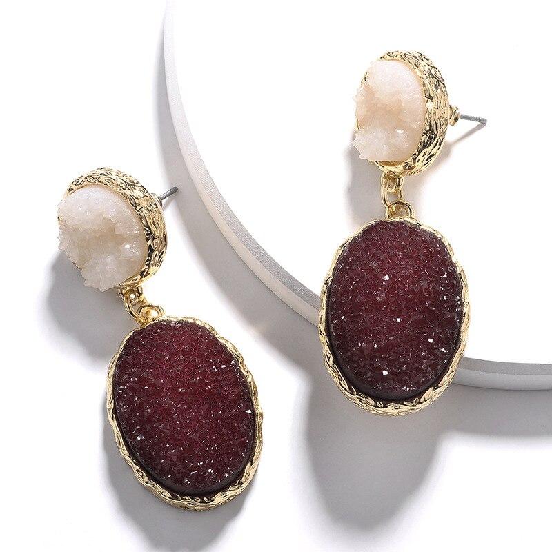 Fashion Zinc Alloy Gold Plating Circle Oval Shape Imitation Resin Druzy Stone Earring
