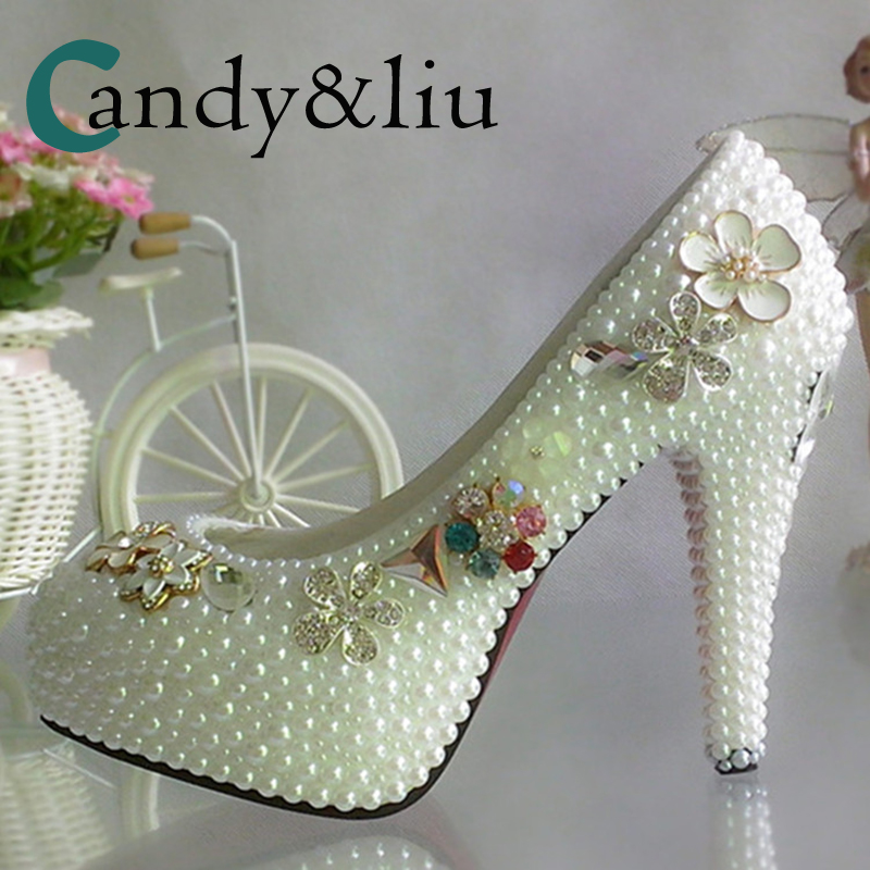 7a2c4dffc White Pearl Wedding Shoes Crystal Flower Super High Heel Spike Women Pumps  with Platform Round Toe Party Banquet Evening Dress