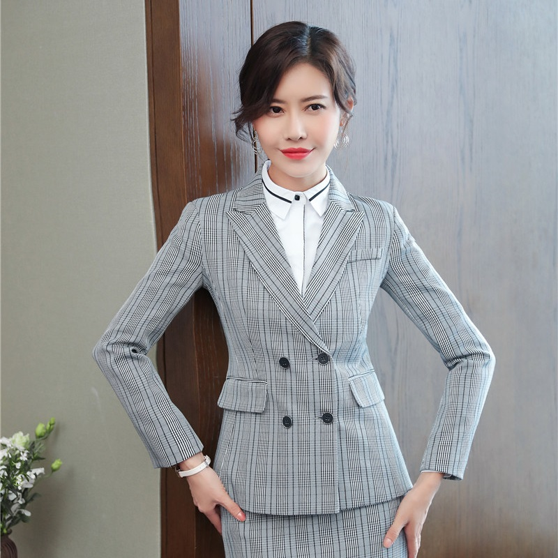 2018 Autumn And Winter New Styles Formal Blazers Jackets Coat For Women Business Work Wear Tops Female Outwear Fashion Plaid