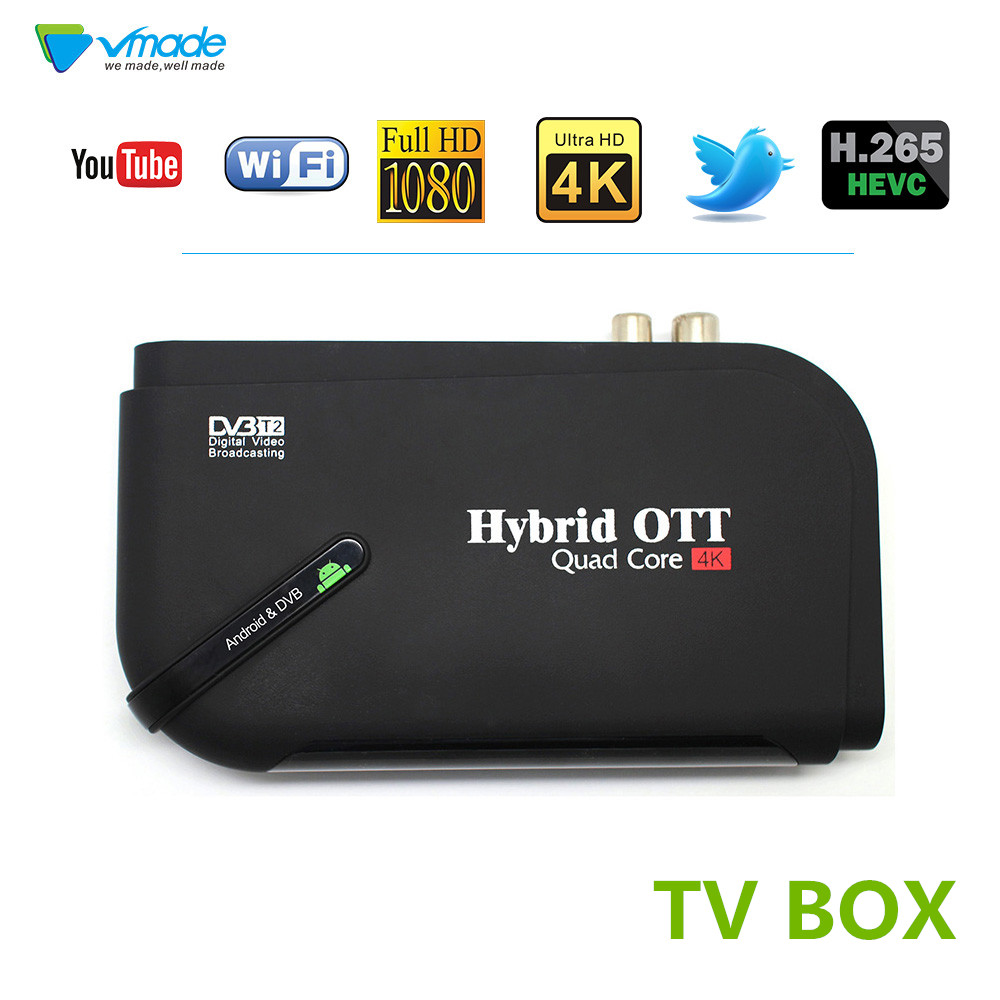 DVB T2 Android Two IN One tv box 1080P Android TV BOX Amlogic S905D Quad core