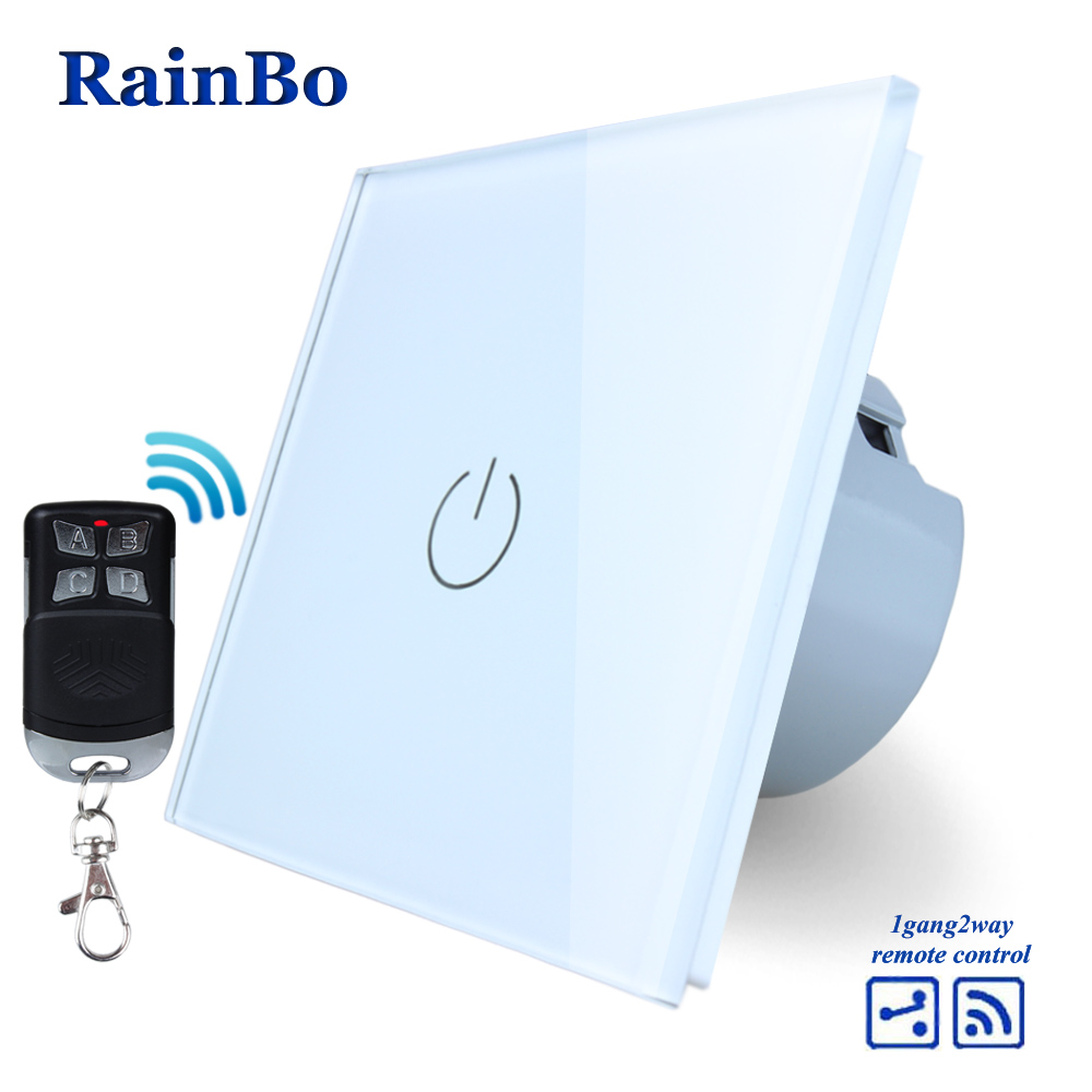 RainBo Crystal Glass Panel Switch EU Wall Switch 110~250V Remote Touch Switch Screen Wall Light Switch 1gang2way  A1914W/BR01 mvava 3 gang 1 way eu white crystal glass panel wall touch switch wireless remote touch screen light switch with led indicator