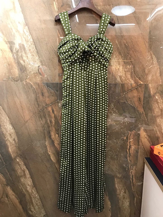 Kadın Giyim'ten Elbiseler'de 2019 Erken Sonbahar Yeni Kadın Dalga Noktası Desen Göğüs Büküm Omuz açık Süspansiyon Elbise 723'da  Grup 1