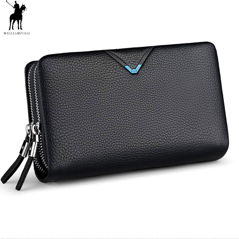 цена Men's Clutch Bag WILLIAMPOLO Clutch Wallet Genuine Leather Flap Handbag Zipper Hand Strap Clutches Man Purse Cowhide Luxury Gift