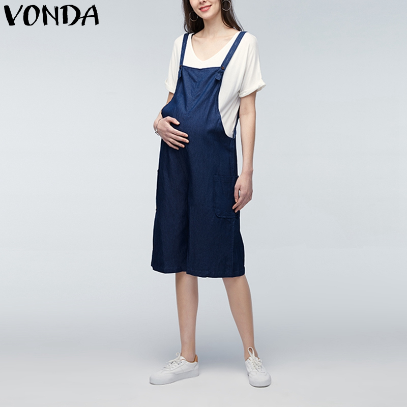 a3c3ab8b3c5 VONDA 2018 Summer Casual Loose Rompers Womens Jumpsuits Maternity Clothings  Pregnant Pants Plus Size Pregnancy Trousers Bottoms