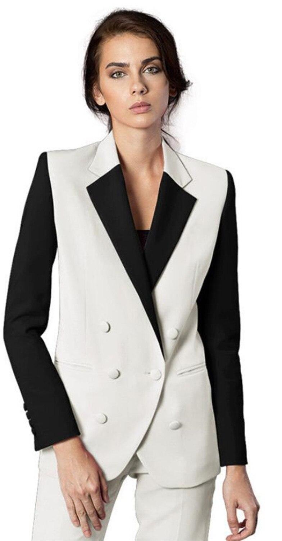 Blanc Bureau Uniforme Femmes Femelle costume d'affaires pantalon pour femme Costumes 2 Pièce Smokings Costumes pour Tenue de mariage Blazer fait sur mesure