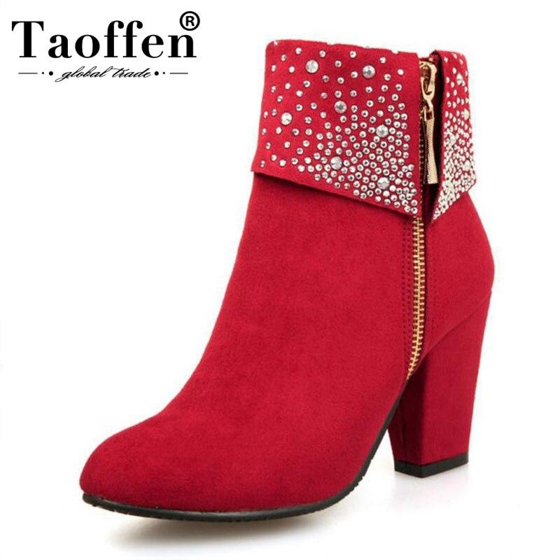 TAOFFEN Grande Taille 32-43 Hiver Femmes Bottes De Mode Épais Talons hauts Bottes Cristal Automne Cheville Bottes pour Femmes chaussures Bleu Rouge