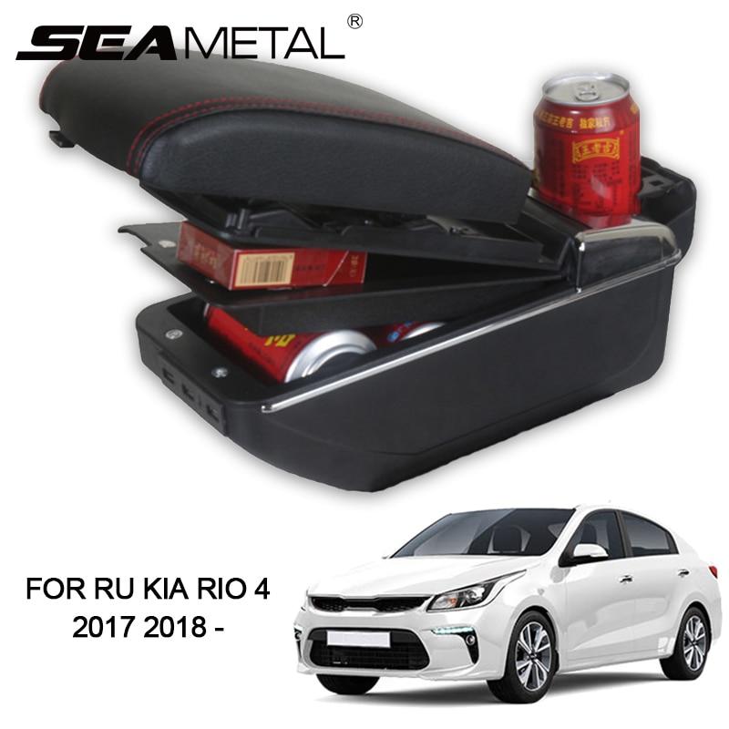 Accoudoir Pour La Russie KIA RIO K2 4 2018 2017 Voiture Accoudoir boîte de Siège En Cuir PU Organisateur De Stockage USB De Voiture-styling Auto Fossé Accessoires