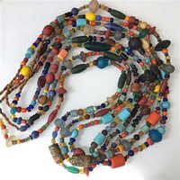 TSB0011 Nepal Handmade Ancient Glass Mixed Beads Strands Nepalese Simulated Trade Beads Long Necklaces Multi Colors